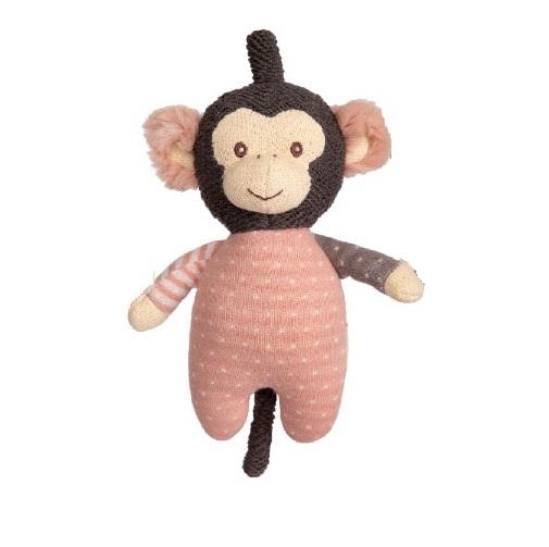 Apan Happy Amelia som snuttefilt från Bukowski Design gosedjur. Härlig nalle att ge bort bland annat i doppresent eller födelsedagspresent. Bukowskinallen är i mjuka färger i svart, brunt, vitt och rosa, randiga  respektive prickiga armar och ben. Rosa v