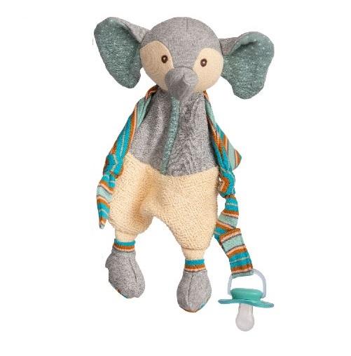 Elefanten Maximilian från Bukowski Design gosedjur. Härlig elefant att ge bort bland annat i doppresent eller födelsedagspresent. Bukowskinallen är i mjuka färger i svart, gul, vitt och grått, randiga respektive prickiga armar och ben. Gul väst och ca 40