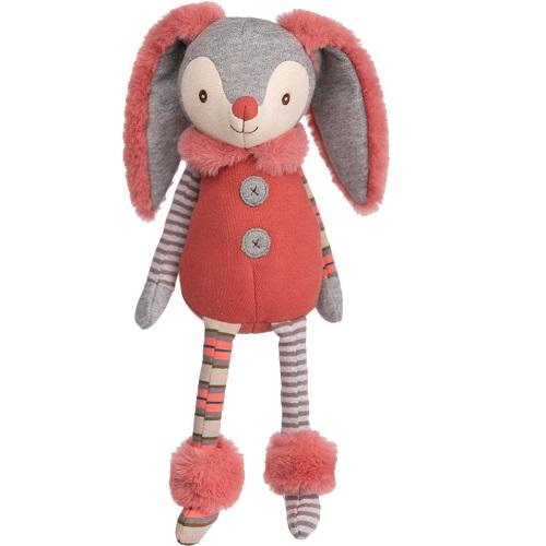 Kaninen Milla från Bukowski Design gosedjur. Härlig kanin att ge bort bland annat i doppresent eller födelsedagspresent. Bukowskinallen är i mjuka färger i svart, gul, vitt och grått, randiga respektive prickiga armar och ben. Gul väst och ca 40cm