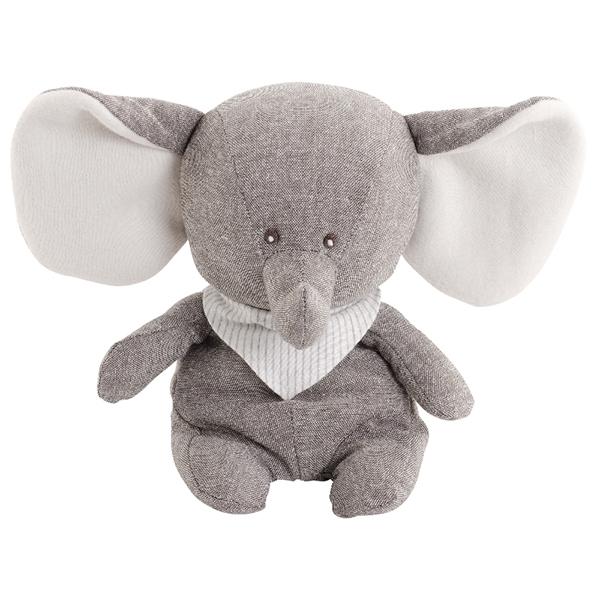 Grå elefant med randig halsduk i naturligt linnétyg från Bukowski Design