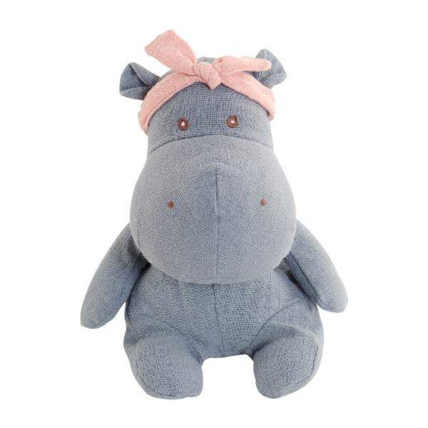 Ljusblå flodhäst i natuligt linné från Bukowski Design