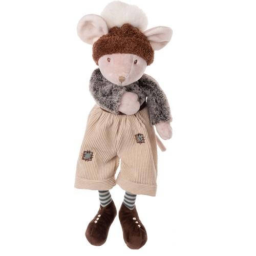 The great Henry från Bukowski Design. Han har en härlig mössa i brunt med stor vit tofs, ljubeige hänglesbyxor och bruna skor.