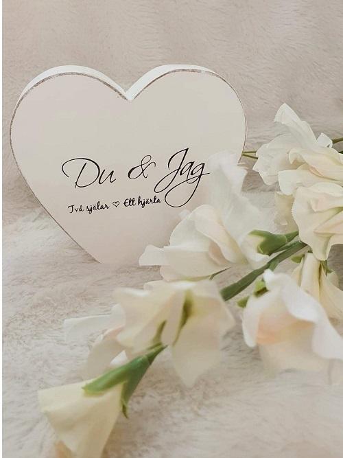 Dekorationsord i trä från Different Design med text Du & Jag två själar ett hjärta