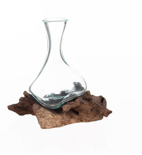 Denna vas varierar i storlek på både vas och rot! Låt inte fantasin stoppa dig, glasvas på rot kan användas som vas , dekoration och så vidare. Varje rot skiljer sig åt från varandra, vilket gör att glasvasen är inte helt identiska vilket leder till att