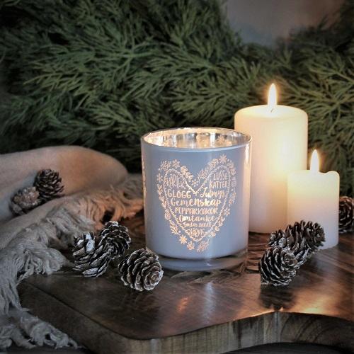 Jullykta med text som glögg,kärlek, lussekatter,julmys,gemenskap,pepparkakor, omtanke, skratt  och värme från Majas Lyktor