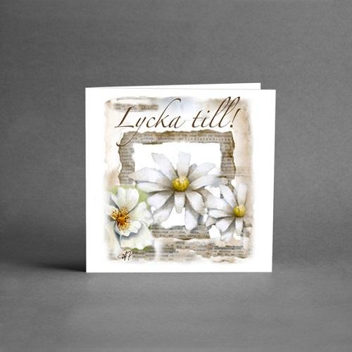 Gratulationskort från Card Store med text Lycka Till och vita prästkragar