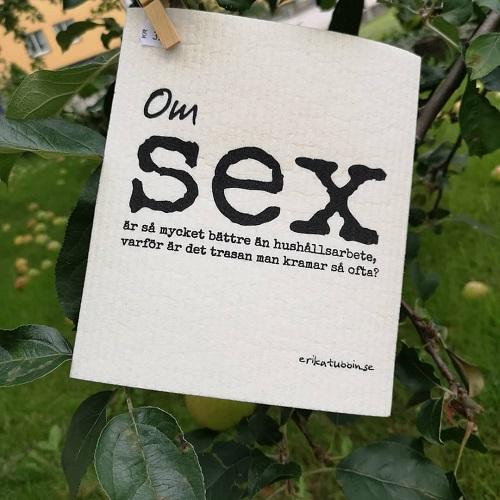 Disktrasepoesi med texten Om sex är så mycket bättre än hushållsarbete, varför är det trasan man kramar så ofta?
