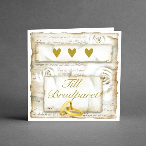 Till brudparet ! Gratulationskort från card store med hjärtan och ringar