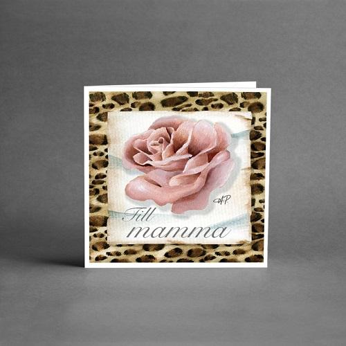 Gratulationskort till mamma med en vacker ros på en bädd med leopardmönster som kant runt om.